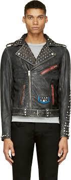sel black distressed studded leather l sneh biker jacket ssense