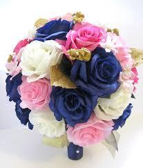 free shipping 17 pcs wedding silk flower bouquet by Wedding Colors Navy And Pink wedding silk flowers bridal bouquet hot pink by rosesanddreams wedding colors navy blue and pink