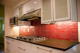 Red And White Kitchens White Kitchen Cabinets Red Backsplash Quicuacom