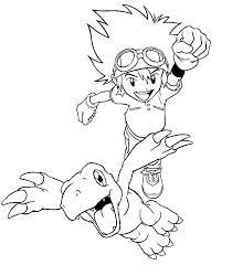 Small Picture Digimon coloring pages taichi yagami and agumon ColoringStar