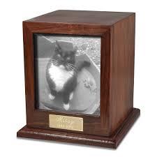 elegant photo wood cat urn shown with b w photo