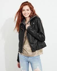 hollister hooded faux leather jacket womens black australia 253kvqfu