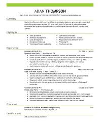 Commercial Parts Pro Resume Sample
