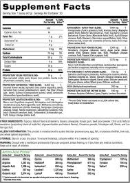 tropical shakeology nutrition label