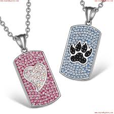 heart wolf paw austrian crystal love best friends dog tag pink white black blue necklaces iwtzvhl7