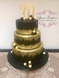 Elegant Black Gold 70th Birthday Cake Laura Templeton Cake