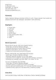 Resume Templates: Fashion Marketing Manager