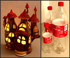 picture of fairy house lamp using plastic bottles