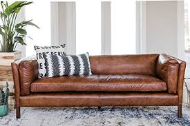 mid century leather sofa. Perfect Leather Amazoncom Edloe Finch Modern Leather Sofa  Mid Century Couch  Top Grain Brazilian Cognac Brown Kitchen U0026 Dining To Y
