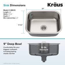 kraus premier 23 inch 16 gauge rectangular undermount single bowl stainless steel kitchen sink