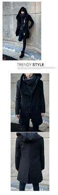 men stylish trench coat korean winter long jacket double ted overcoats peacoat windbreaker with hood mens
