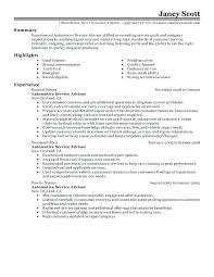 Service Writer Resume Sample