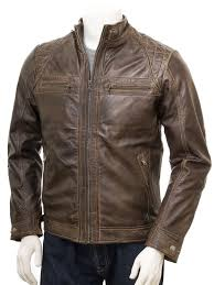 men s walnut biker leather jacket