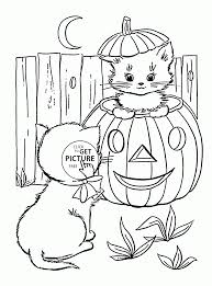 Cute Halloween Cats Coloring Pages For