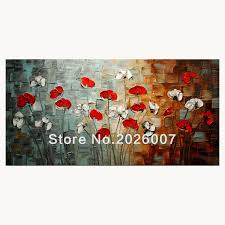 hand painted landscape abstract palette knife white red poppies oil painting canvas home wall living room