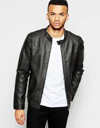 jack jones faux leather jacket with biker collarr black jack jones leather jackets