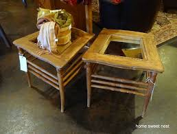 old chairs repurposed into side tables via home sweet nest