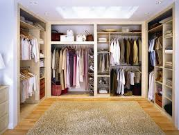 Interior:Charming Walk In Dressing Room Design With U Shape Shelves Cabinet  And Grey Fur