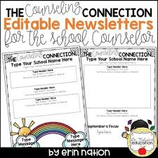 Editable School Counselor Newsletter Templates 2nd Version Tpt