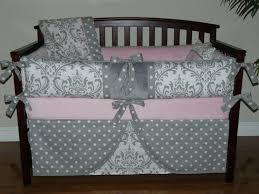 home luxury pink and grey crib bedding set 48 shocking baby light gray damask girl pc