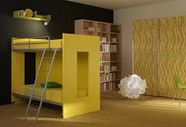 f contemporary small kids bedroom design highlighting yellow painted wooden bunk beds with grey metal stairs and natural brown wooden wall cubicle bedroom contemporary furniture cool