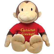 curious george jumbo plush stuffed animal w sound just squeeze his foot com