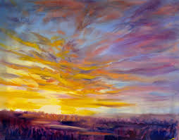 student painting sunset alla prima 40x50cm oil on canvas