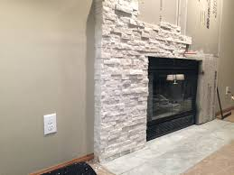 smlf installing faux stacked stone fireplace diy facing over brick muenster installs panels drywall