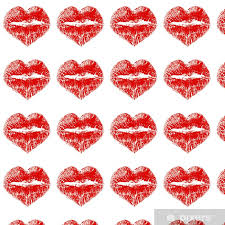 lipstick kiss in heart shape wallpaper