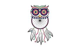 Dream Catcher With Birds Simple Wallpaper Owl Bird Minimalism Feathers Light Background Owl
