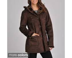 excelled women s 3 4 length faux shearling coat with hood and faux