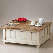 white rustic coffee table with storage