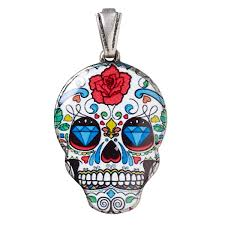 pendant resin and silver plated brass multicolored 30x22mm dia de los muertos skull with rose and diamond pattern with open bail sold individually
