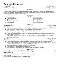 Resume Templates For Retail Sales Associate Endearing Resume
