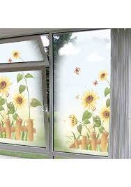 garden sunflower wall sticker beautiful scenery wall decal bedroom living room window wall art home decor