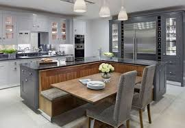 kitchen island dining table combo.  Kitchen Simple Island Dining Table Combo With Comfortable Grey Upholstered In  Kitchen Ideas 11 C