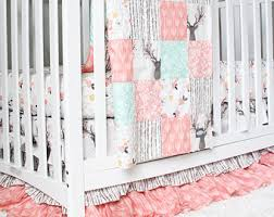 Girl Crib Bedding, Woodlands Fawn Girl Baby Bedding, Baby Girl Deer Crib  Bedding Set