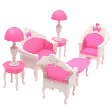 6pcs lot Cute Lovely Dollhouse for Barbie Doll Furniture Playset