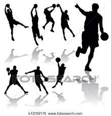バスケットボール選手 クリップアート切り張りイラスト絵画集