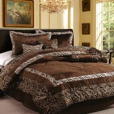 luxury bedroom with faux fur safarina brown coffee king bedding sets 15 pieces brown animal