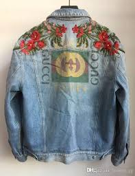 new fashion women men s denim jacket embroidered flowers italy brand g uni casual coat top quality overcoats kids leather jackets from fashion gg