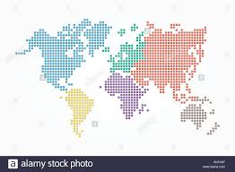 World Map Pixel Style And Flat Color Design Different