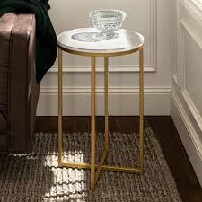 marble gold round side table