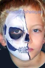 half skeleton face paint for done with dfx white and black with some