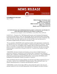 Aramark Nashville For Immediate Release Nashville Chamber Of Commerce