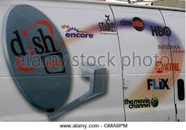 the dish network logo on the side of installers truck is seen in denver march 2 dish network installers