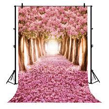 Cherry Blossom Backdrop Gckg 7x5ft Pink Romantic Path Cherry Blossom Wedding Newborn Polyester Photography Backdrop Photo Background Studio Props
