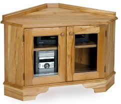 small oak corner tv stand with glass doors