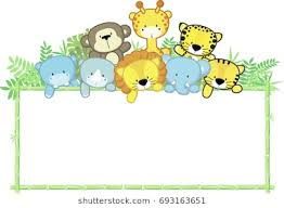 jungle animals border clipart.  Animals Cute Baby Animals Jungle Plants And Bamboo Frame Childrenu0027s Design On Jungle Animals Border Clipart L