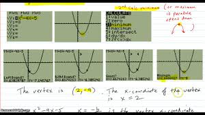 find the vertex x coordinate of a parabola with calculator methods and check by hand